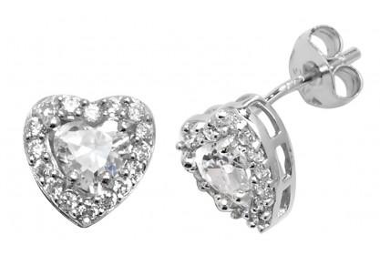 Sterling Silver Heart Shape Cubic Zirconia Stud Earrings